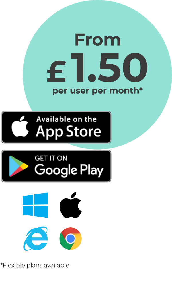 From £1.50 per user per month, flexible plans available.
